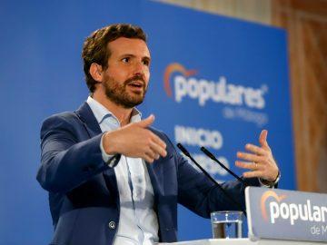 El presidente del PP, Pablo Casado, en el acto de inicio de curso político del PP andaluz, a 03 de septiembre 2021 en Alhaurín el Grande (Málaga)