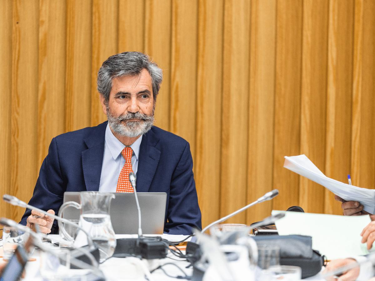 El presidente del Consejo General del Poder Judicial y del Tribunal Supremo (CGPJ), Carlos Lesmes durante el pleno del Consejo General del Poder Judicial (CGPJ), en Pontevedra/Galicia (España)